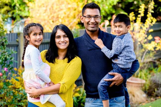 Veer Gudkha with his dad Nirav, sister Suhani and mum Kirpa. Credit: Caters