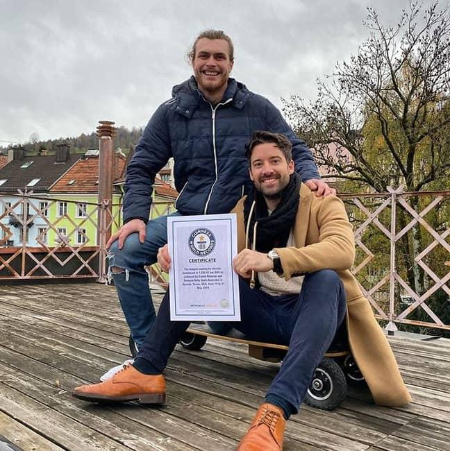 Dan and Dwayne with their Guinness World Record certificate. Credit: Instagram/lonestarskate