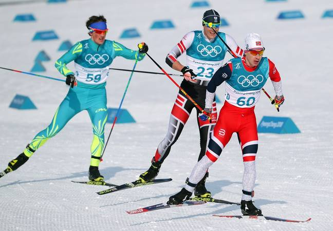 Max Hauke (middle) at the PyeongChang Winter Olympics in 2018. Credit: PA