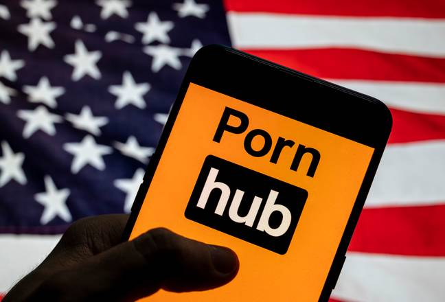 Pornhub, with an American flag for whatever reason. Credit: PA