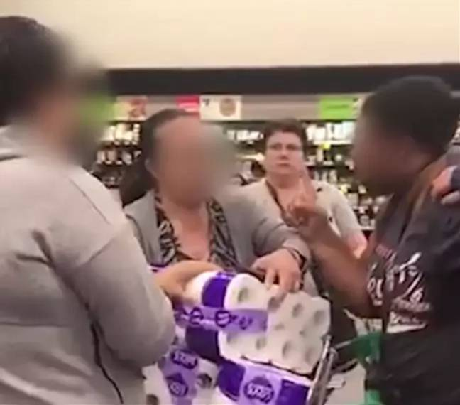 Customers were fighting over toilet roll in a Woolworths in Chullora, west Sydney. Credit: Twitter