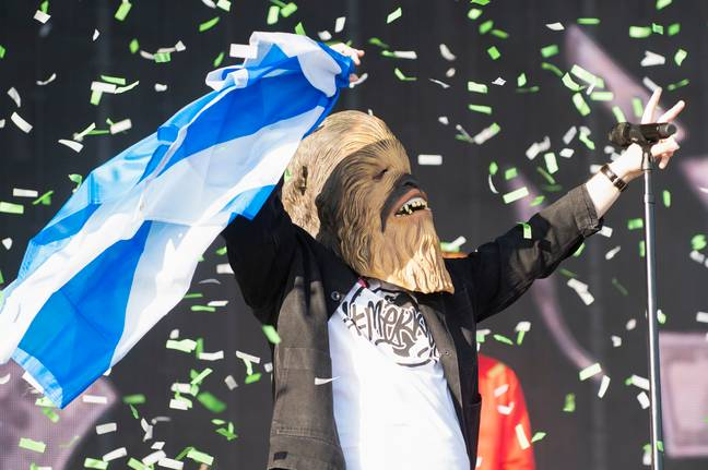 The mask was made famous by Lewis Capaldi when he wore it during his set at TRNSMT Festival. Credit: PA
