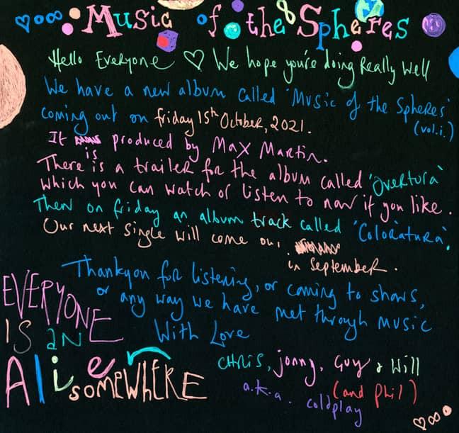 Credit: Coldplay