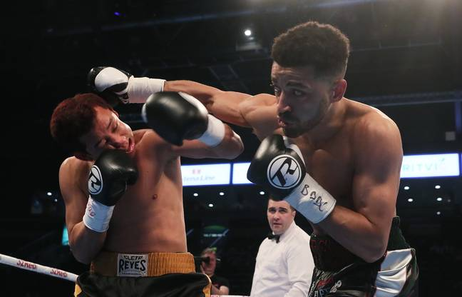 Sam Maxwell (right) in the ring with Michael Issac Carrero. Credit: PA