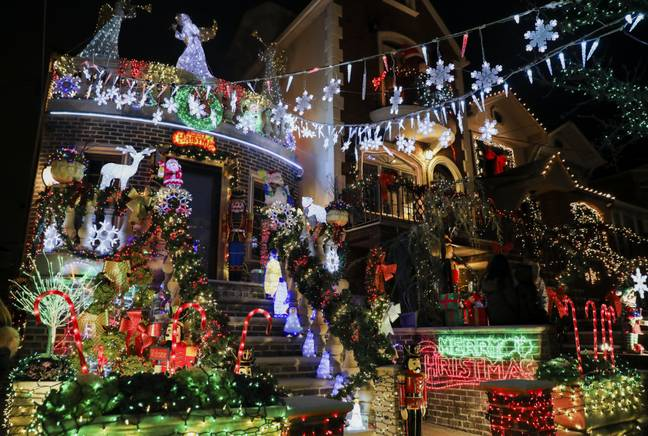 Christmas decorations on a home in New York. Credit: PA