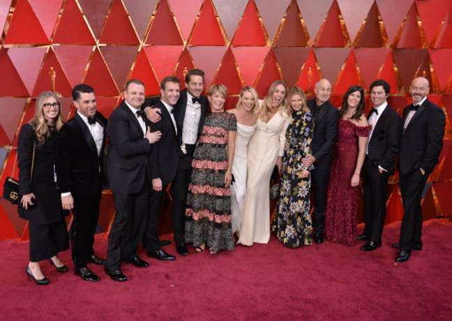 Margot Robbie, her mum and the cast and crew of I, Tonya. Credit: PA