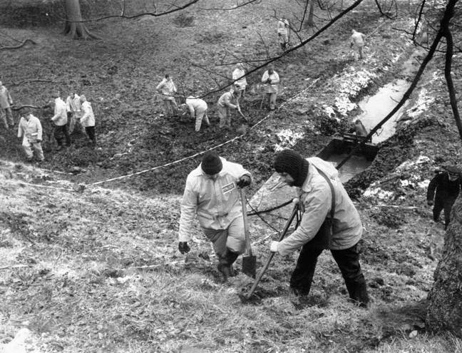 Police searching woodland near Sutcliffe's home in 1981. Credit: PA
