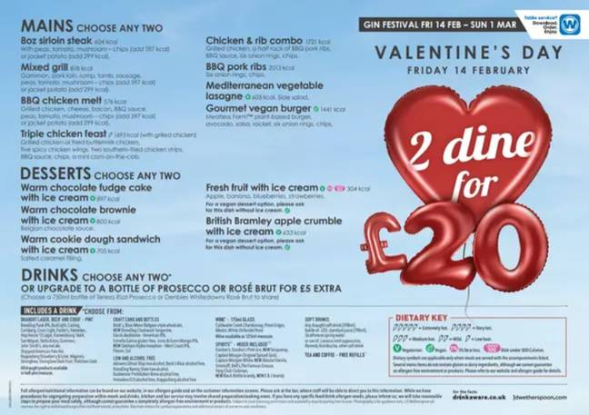The Valentine's Day £20 Meal Deal at Wetherspoon pubs. Credit: JD Wetherspoon