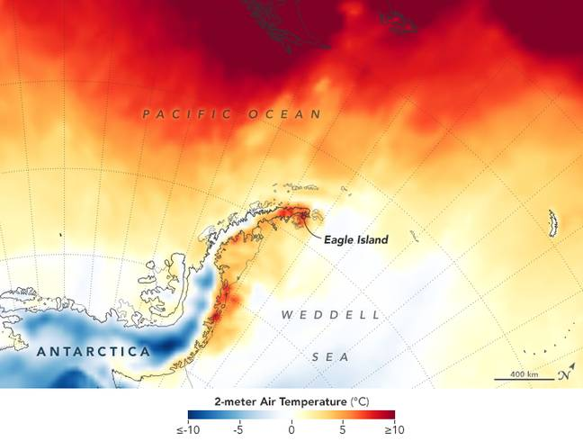 Heat map across the Antarctic Peninsula on February 9 - darkest red areas are where the model shows temperatures surpassing 10°C. Credit: NASA