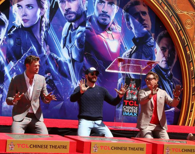 Chris Hemsworth, Chris Evans and Robert Downey Jr at the Avengers Cast Members Handprint Ceremony in April 2019. Credit: PA