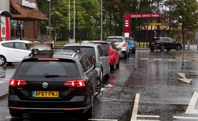The queue for a Costa drive-thru in Edinburgh. Credit: SWNS