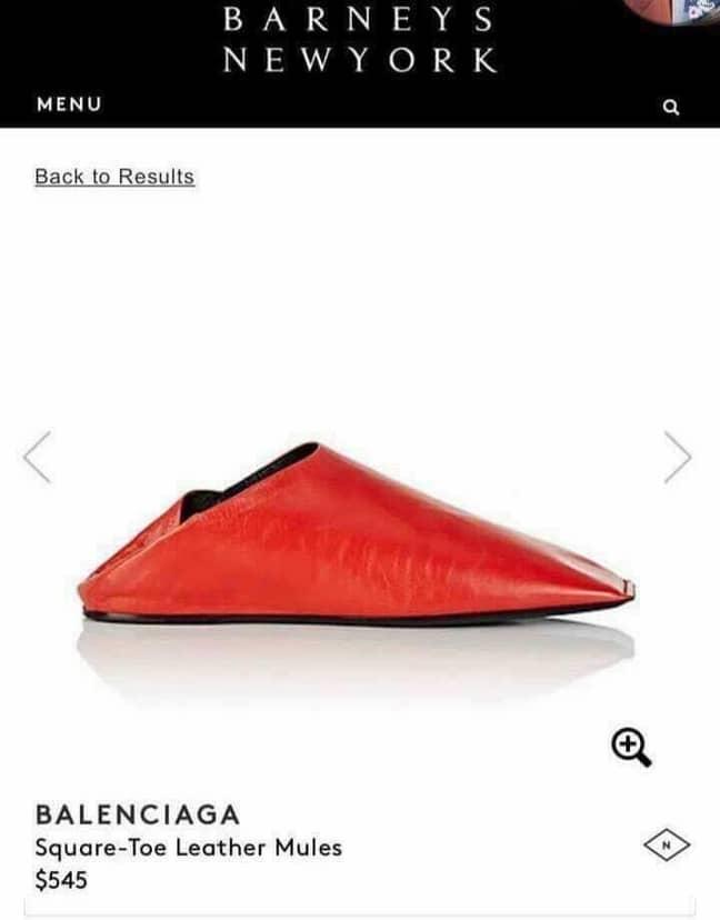 The Balenciaga red mules. Credit: Barneys