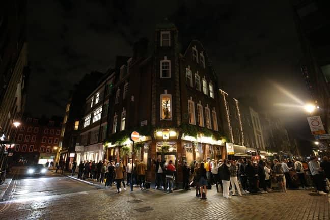Crowds outside a London pub. Credit: PA
