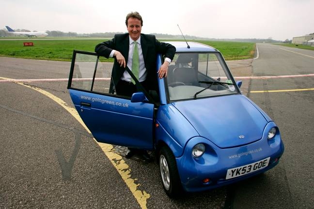 David Cameron photographed with G-Wiz back in 2006. Credit: PA