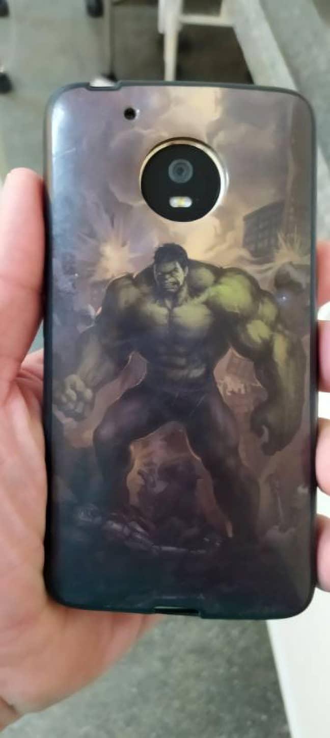 The 'life saving' Hulk-themed phone case. Credit: Newsflash