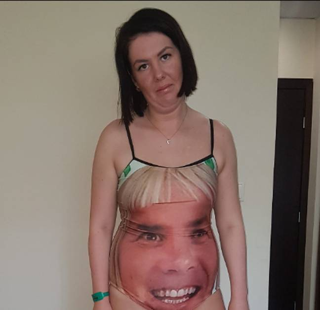 Megan's dad bought her the swimsuit to 'so no men look at her'. Credit: LADbible