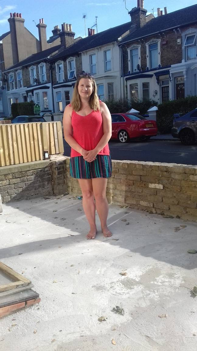 Judith Cook and her concrete front garden. Credit: Triangle News