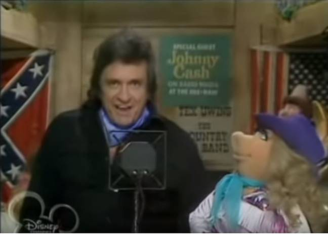 One 1980 episode which now has a warning features Johnny Cash performing in front of a Confederate flag. Credit: Disney