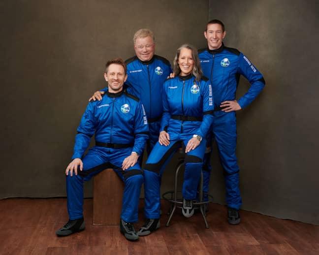 Shatner with crewmates Audrey Powers, Chris Boshuizen and Glen de Vries. Credit: Blue Origin