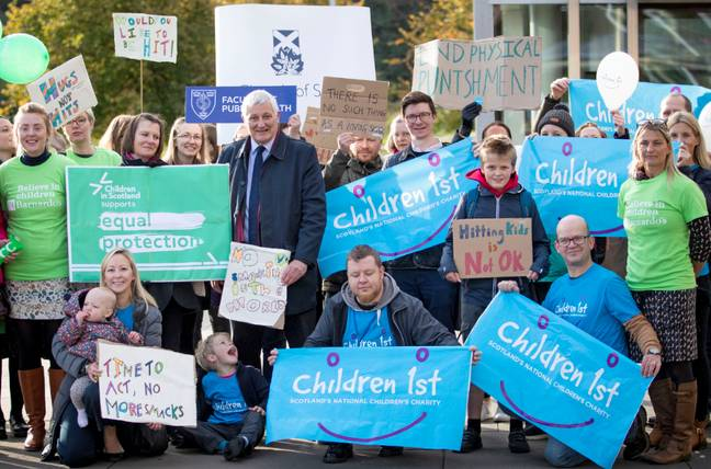 Children First campaigners outside Scottish Parliament this week. Credit: PA