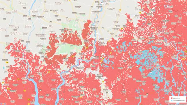 Future coastal flood threats in Kolkata, India. Credit: Climate Central