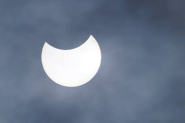The partial eclipse as seen from Liverpool. Credit: PA