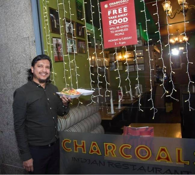 Muhammad and his team have been handing out food for the past four years. Credit: Muhammad Sultan/Charcoal Indian Restaurant