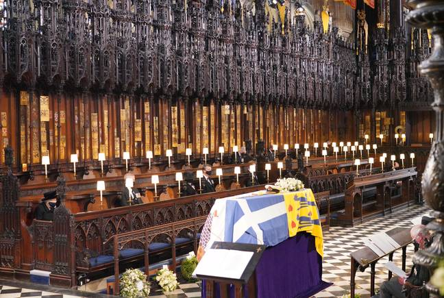 Prince Philip's funeral service at St George's Chapel. Credit: PA