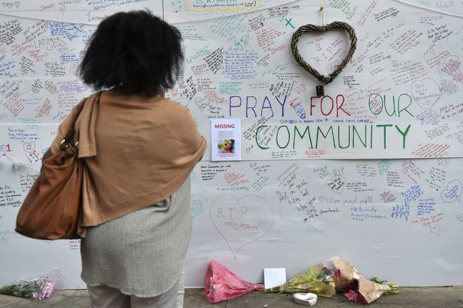 A wall of tributes close to Grenfell Tower. Credit: PA