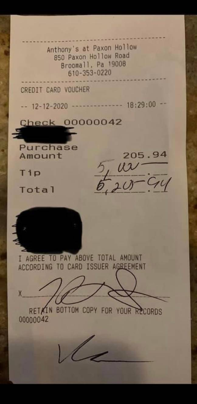 That is one generous tip. Or they're just extremely bad at maths. Credit: Gianna DiAngelo