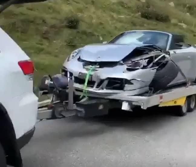 The Porsche was badly damaged by the crash. Credit: Instagram/vdhautomotive