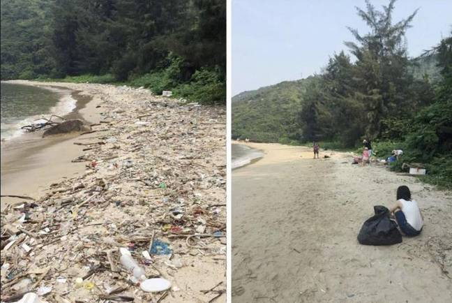 One of the many examples of someone completing the #Trashtag Challenge. Credit: Reddit