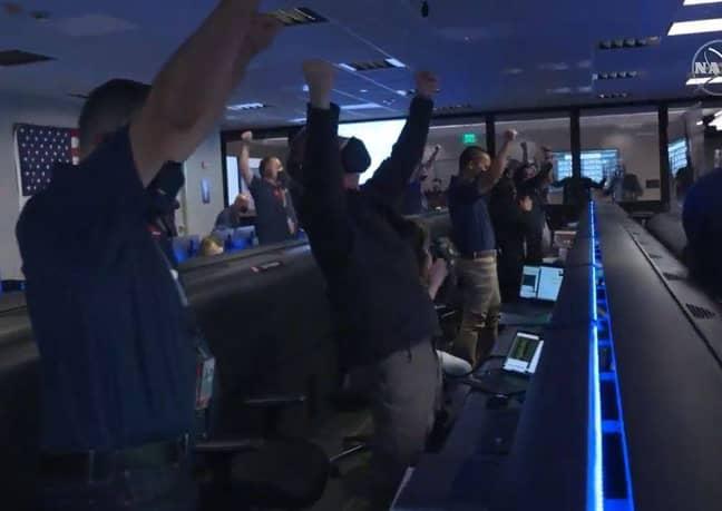 The team were euphoric. Credit: NASA