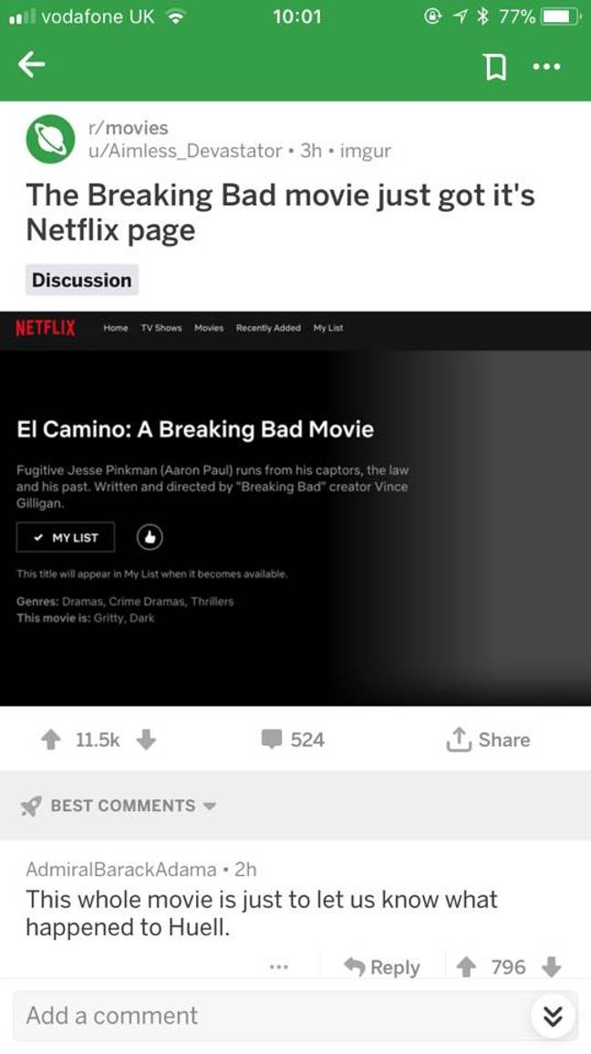 The page, which appears to have been created Netflix, appeared online. Credit: Reddit