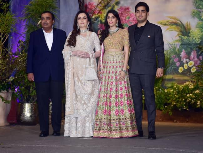 Mukesh Ambani and his family. Credit: PA
