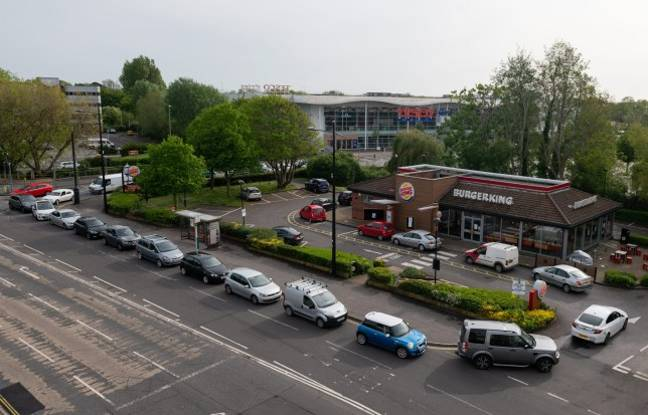 Cars queue around the block for a Burger King. Credit: Solent