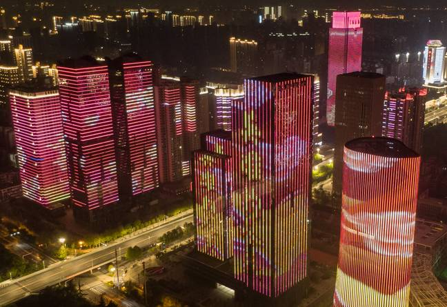 Wuhan staged a light show to celebrate the end of the 76-day lockdown. Credit: PA