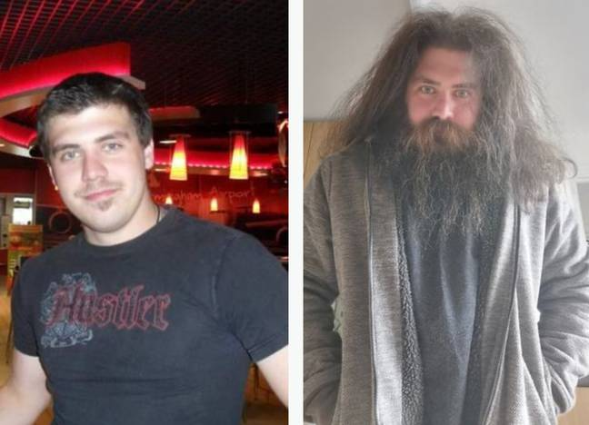 Aaron before and after he grew out his beard. Credit: Aaron Mark Sankey/SWNS