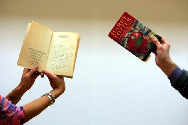 Signed first editions of J.K Rowling's Harry Potter and the Philosopher's Stone. Credit: PA