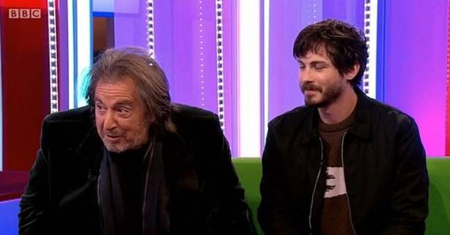 Pacino was on with his co-star Logan Lerman. Credit: BBC One