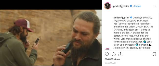 Momoa shared a video of him shaving off his beard on Instagram and YouTube. Credit: Jason Momoa