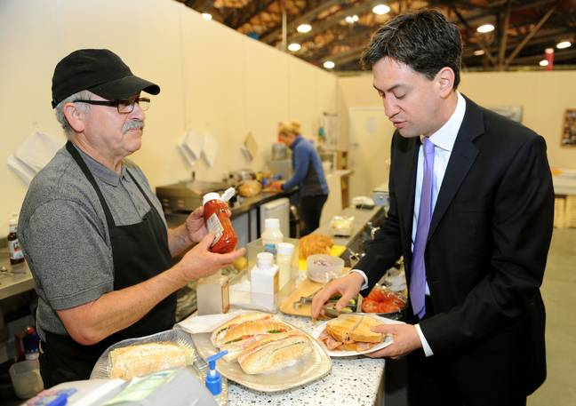 Miliband representing the red army. Credit: PA