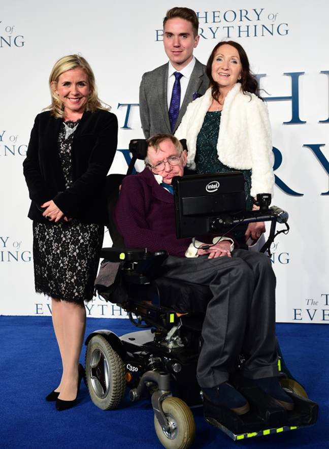 Lucy, Timothy, Jane and Stephen Hawking at the UK Premiere of The Theory of Everything in 2014. Credit: PA
