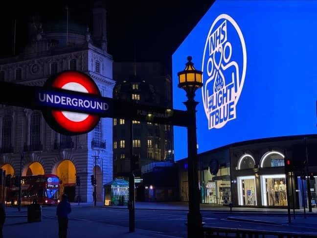 Piccadilly Circus. Credit: #LightItBlue