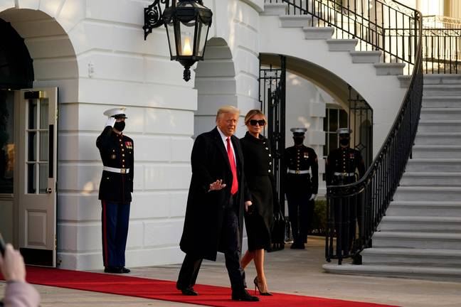 Trump leaving the White House for the final time. Credit: PA