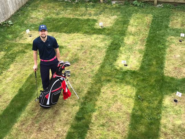 Sam with his DIY golf course. Credit: LADbible