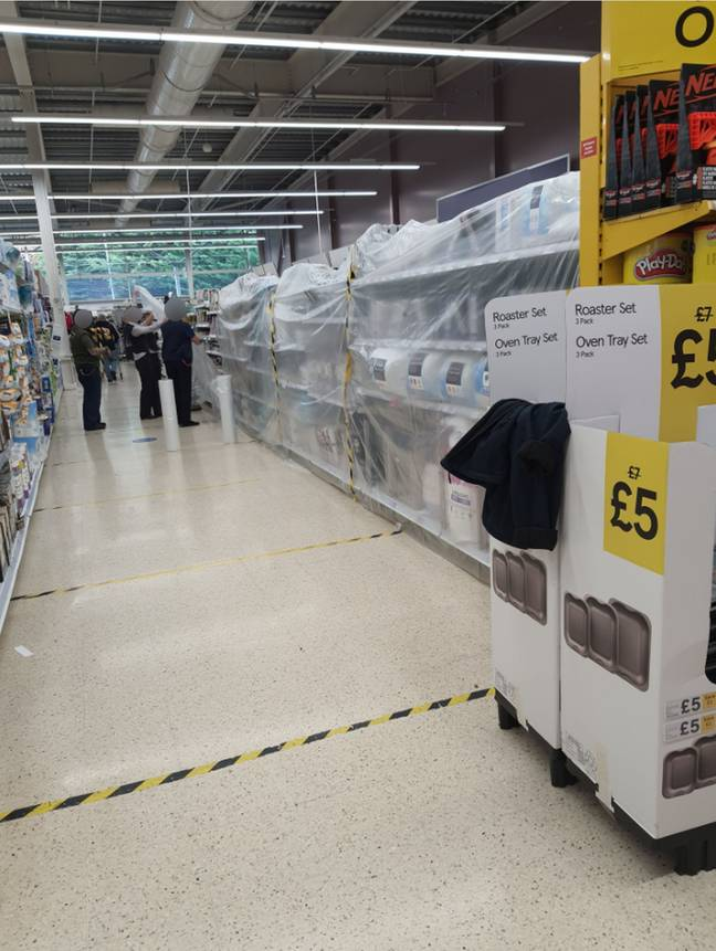 Electrical goods and homeware were covered up by plastic sheets. Credit: Kennedy News and Media
