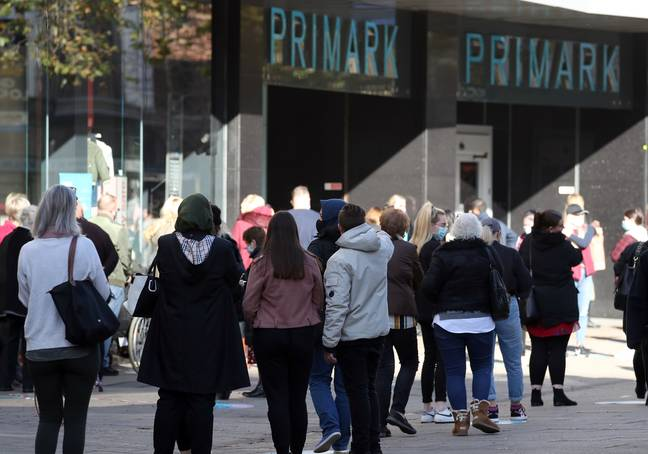 Shoppers outside a Primark store last November, the day before England went into its second lockdown. Credit: PA