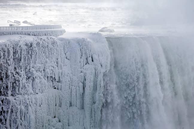 Niagara Falls looking eerier than Lake Erie. Credit: PA
