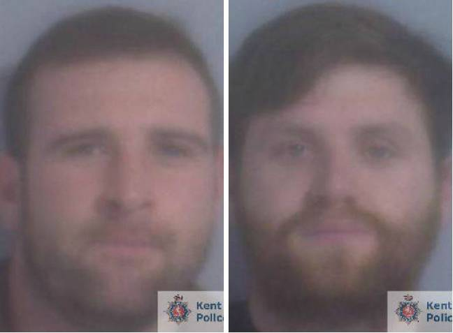 Warren Hearne (left) and Danny Frost (right) have each been jailed after setting fire to a taxi in the forecourt of a petrol station. Credit: Kent Police